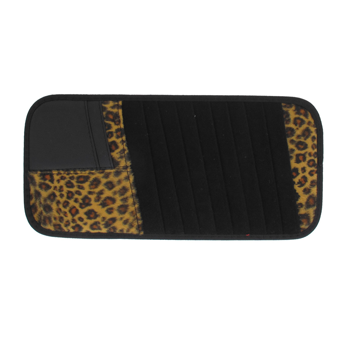 Black Brown Fleece Leopard Pattern Rectangle 12pcs VCD DV CD Discs Holder Bag for Car