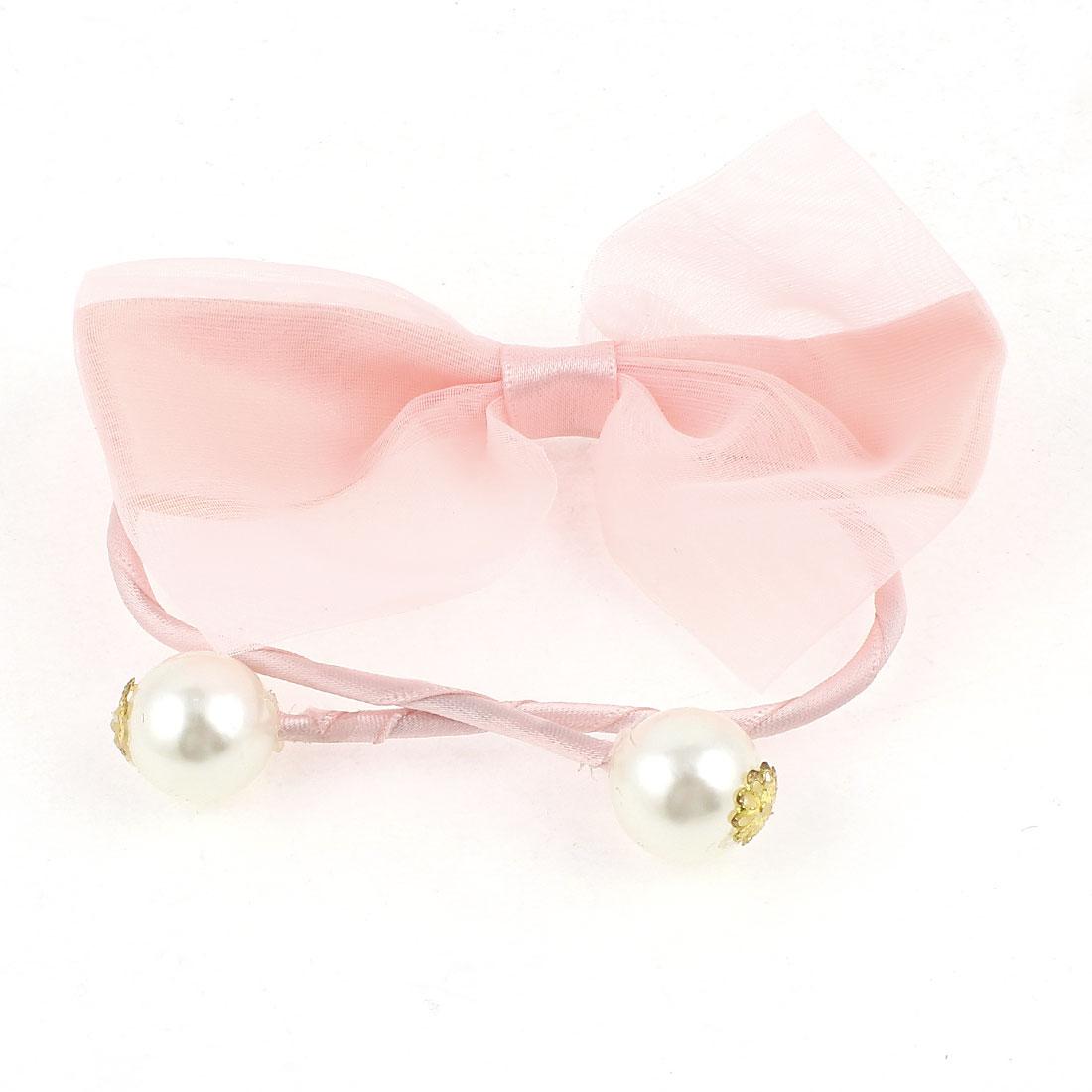 Women Imitation Pearl Bowtie Accent DIY Wire Hair Band Tie Wrap Peachpuff