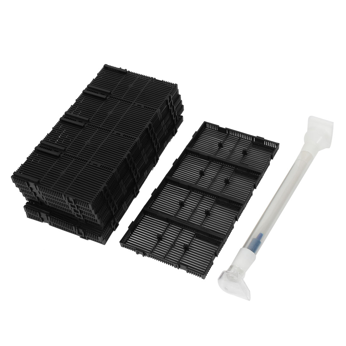 Black Plastic Rectangular Aquarium Undergravel Filter 140mmx72mmx16mm 32PCS