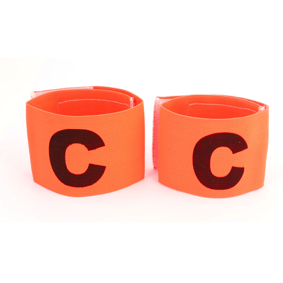 Character C Printed Football Game Hook Loop Closure Elastic Armband Orange Red 2pcs