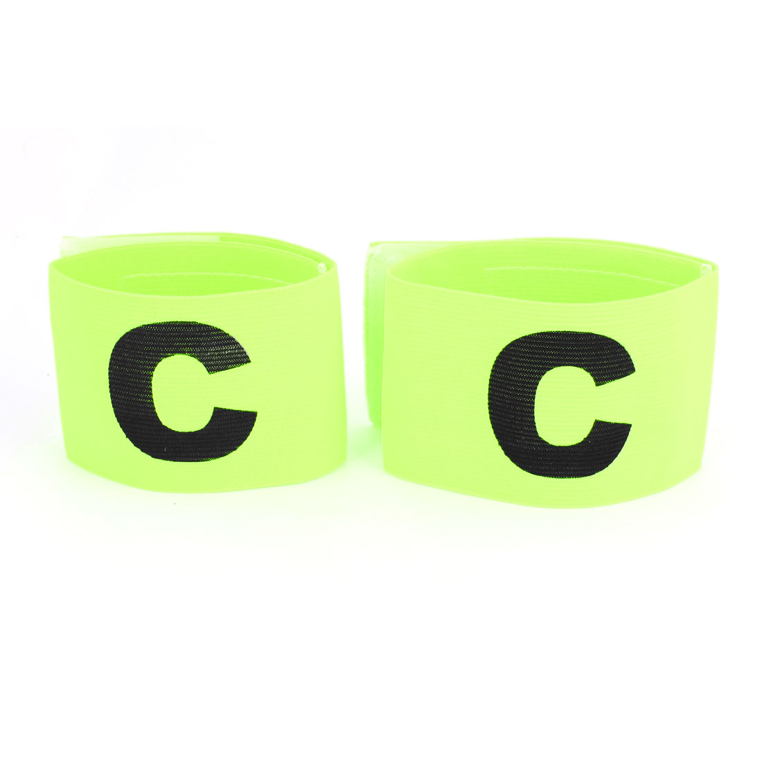 Character C Printed Football Game Hook Loop Closure Elastic Armband Yellow Green 2pcs