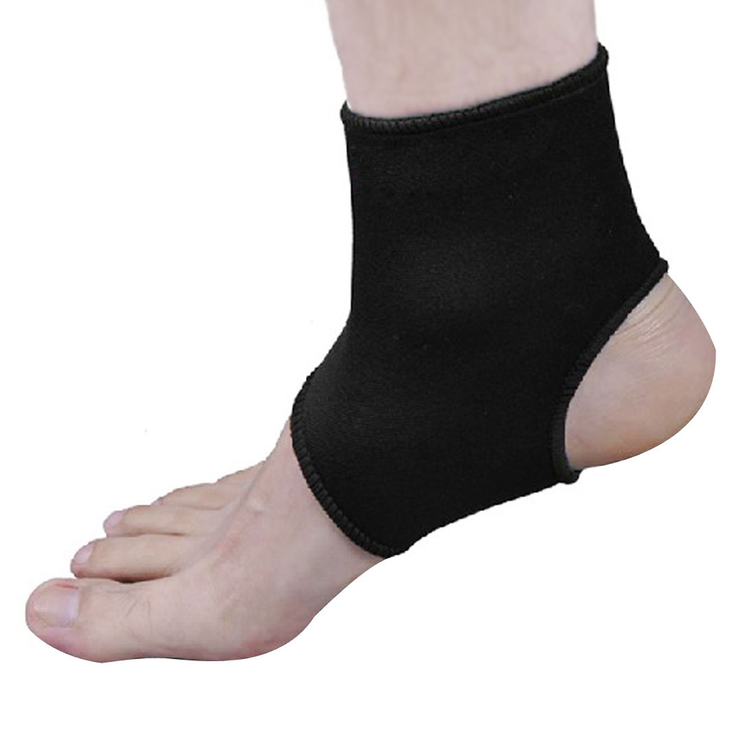 Outdoor Training Black Elastic Band Open Heel Ankle Support Brace