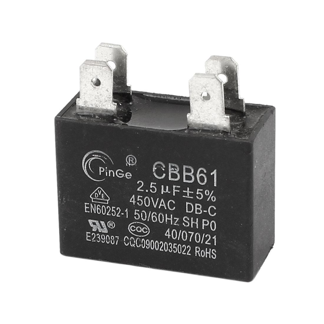 2.5uF MFD AC 450V 50/60Hz 4 Pins Fan Capacitor CBB61