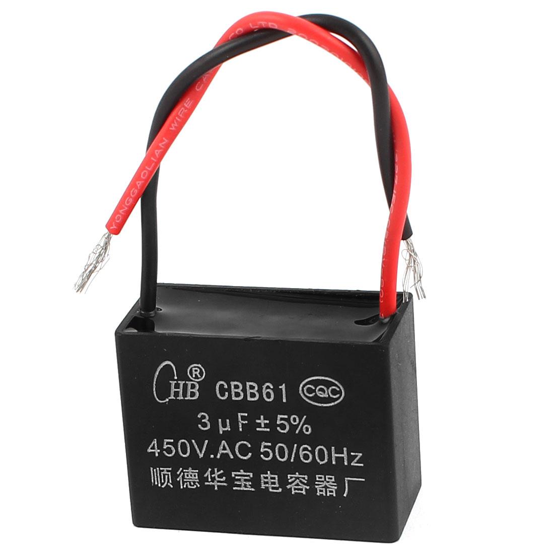 AC 450V 3uF 50/60Hz 5% Tolerance Fan Motor Running Capacitor CBB61