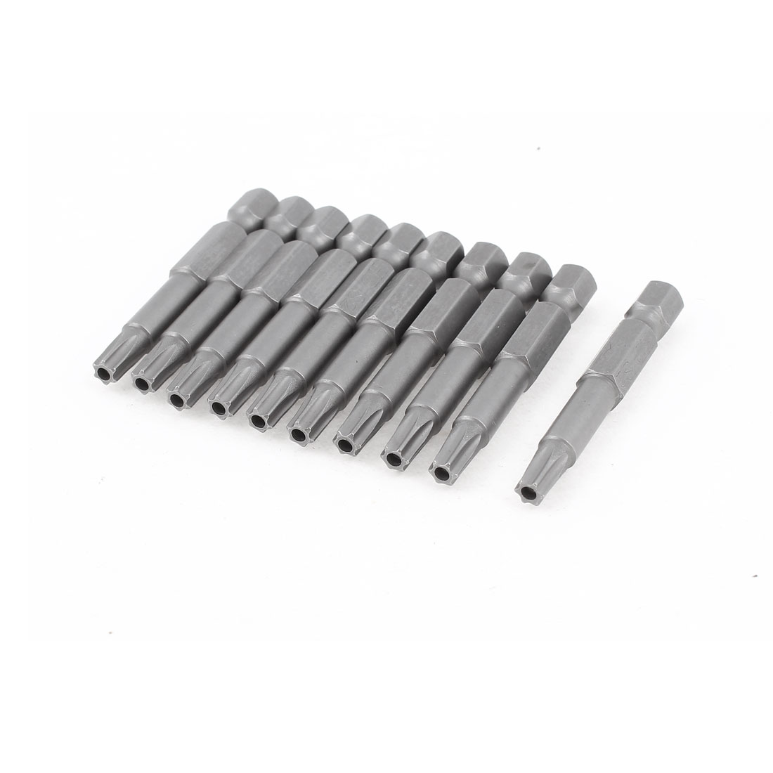 10 Pcs 50mm Long 4mm TT25 Tip Magnetic Torx Screwdriver Bits Gray
