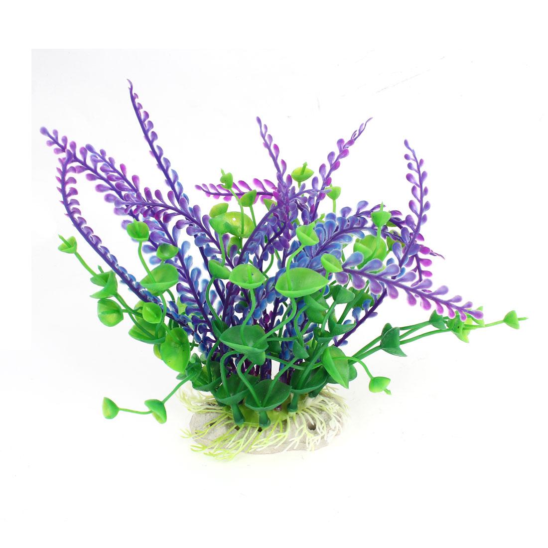 "Fish Tank Decor Green Purple Landscape Emulational Aquatic Grass Plant 7.5"" High"