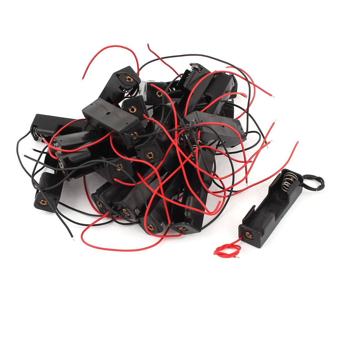 20 Pcs Black Red Wires Lead Plastic Shell Holder Case Box for 1 x AA Battery