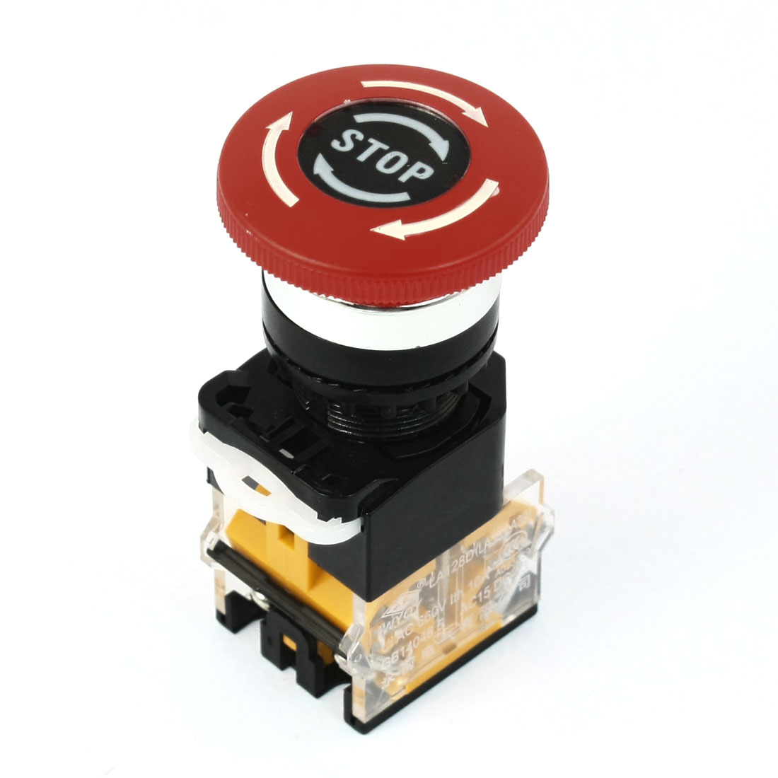 Ui 660V Ith 10A 21mm Thread Panel Mounting DPST Latching Rotary Reset Red Mushroom Head Push Button Switch