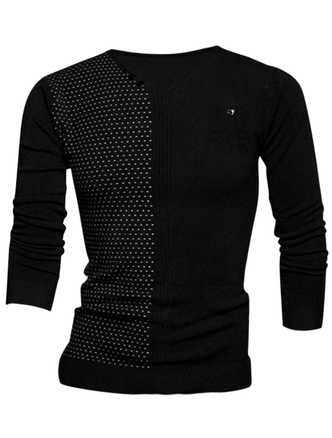 Men V Neck Novelty Prints Stitched Design Slim Fit Knit Shirt Black M