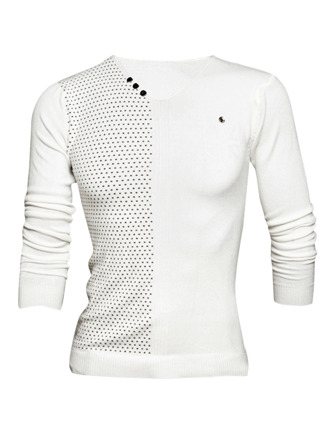 Men V Neck Novelty Prints Stitched Design Casual Knit Shirt White M