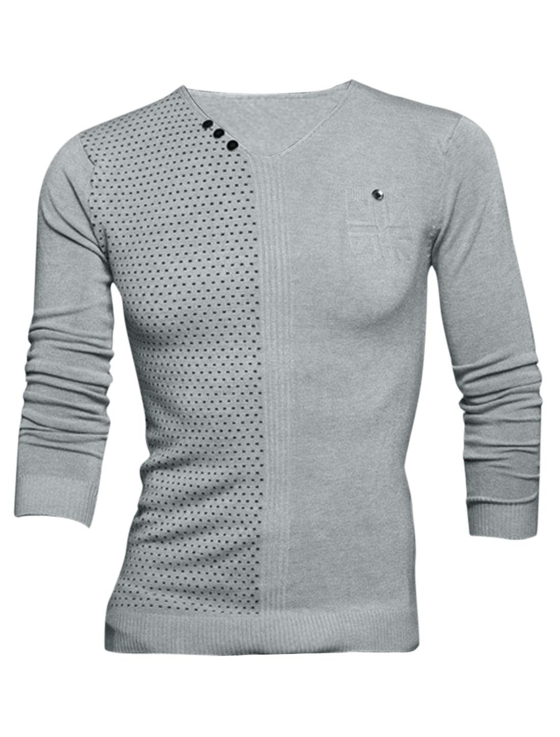 Men V Neck Novelty Prints Stitched Design Leisure Knit Shirt Gray M