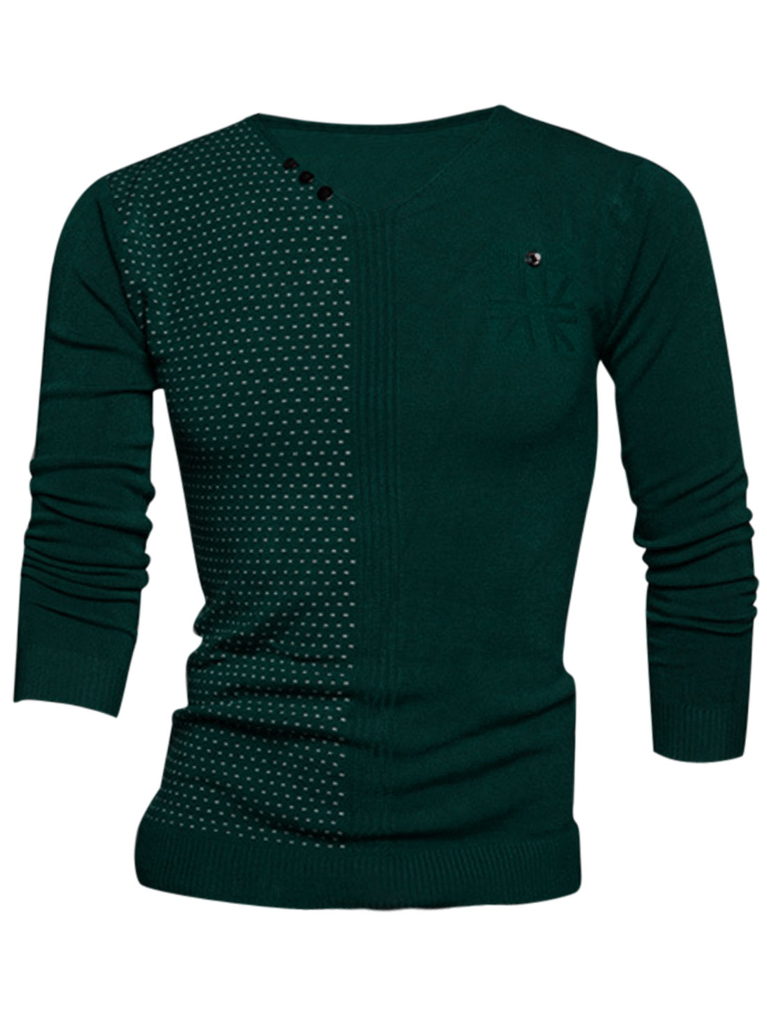 Men V Neck Novelty Prints Stitched Design Soft Knit Shirt Army Green M