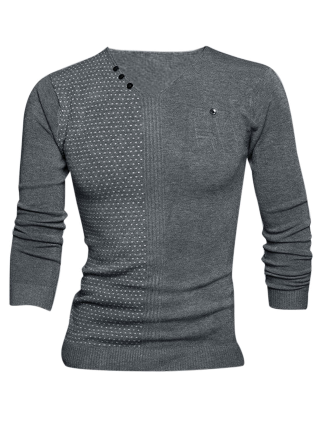 Men V Neck Novelty Prints Stitched Design Pullover Knit Shirt Dark Gray M