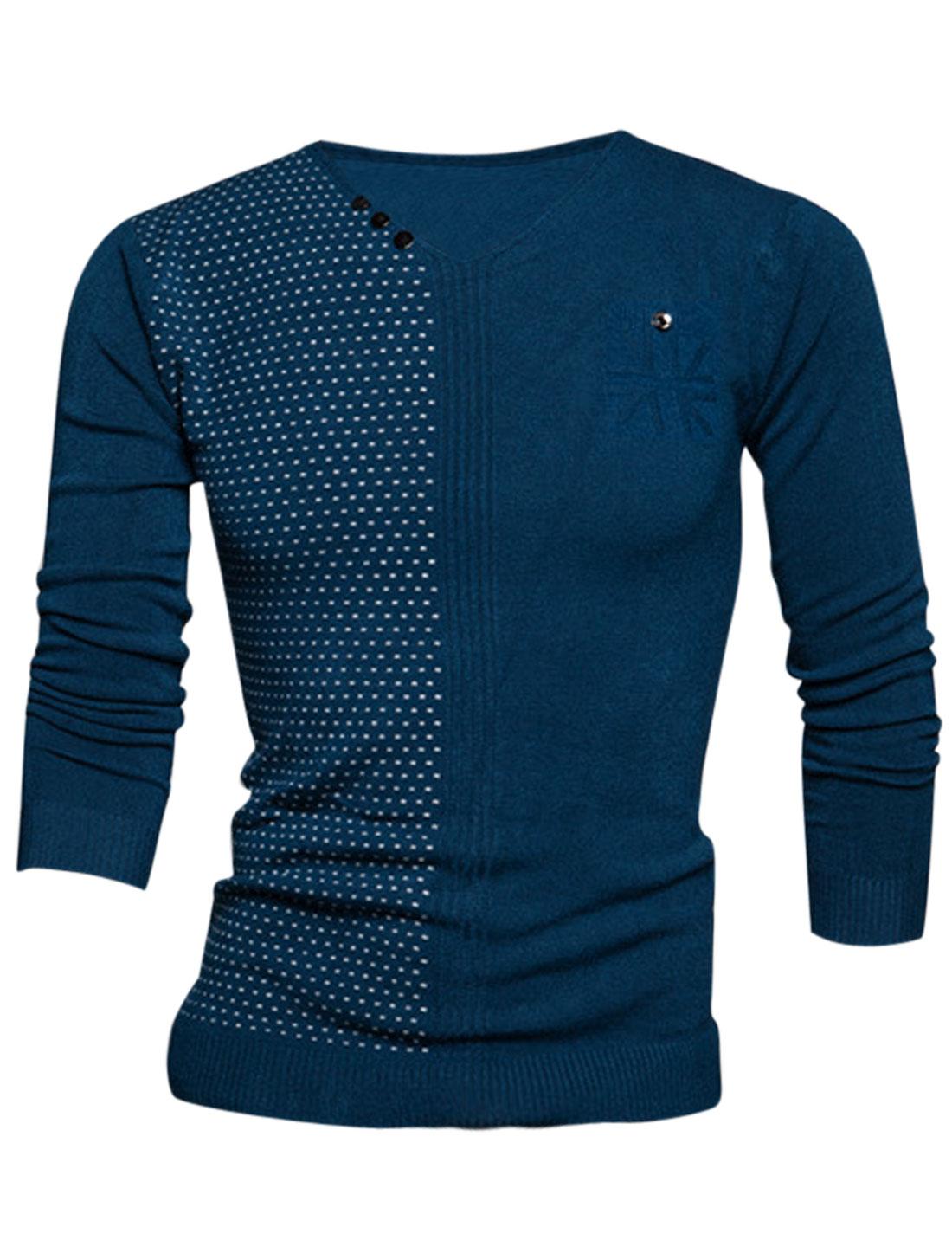 Men V Neck Novelty Prints Stitched Design Stylish Knit Shirt Navy Blue M