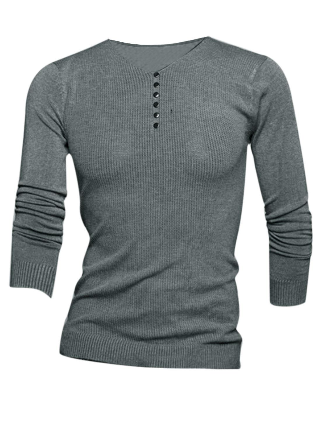 Men V Neck Long Sleeve Buttons Decor Front Stylish Knit Shirt Dark Gray S