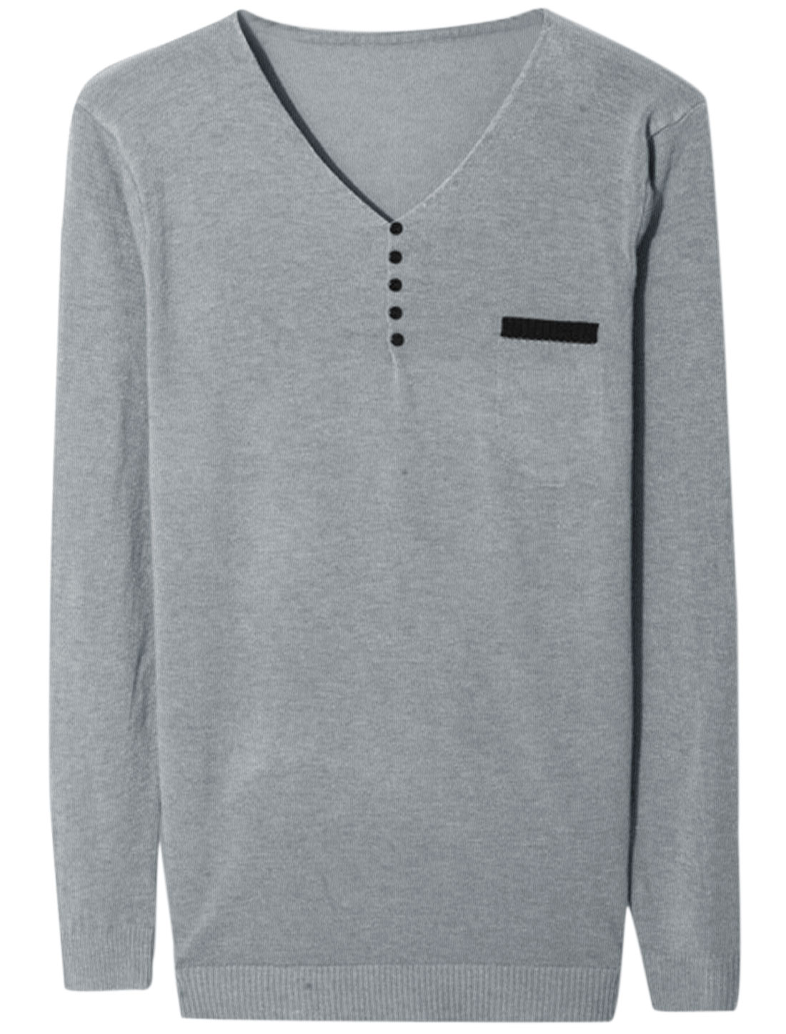 Men V Neck Long Sleeve Buttons Decor Leisure Knit Shirt Gray M