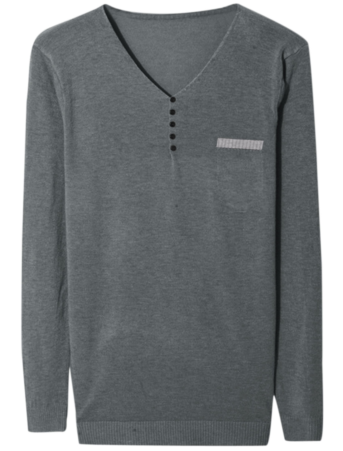 Men V Neck Long Sleeve Buttons Decor Soft Knit Shirt Dark Gray M