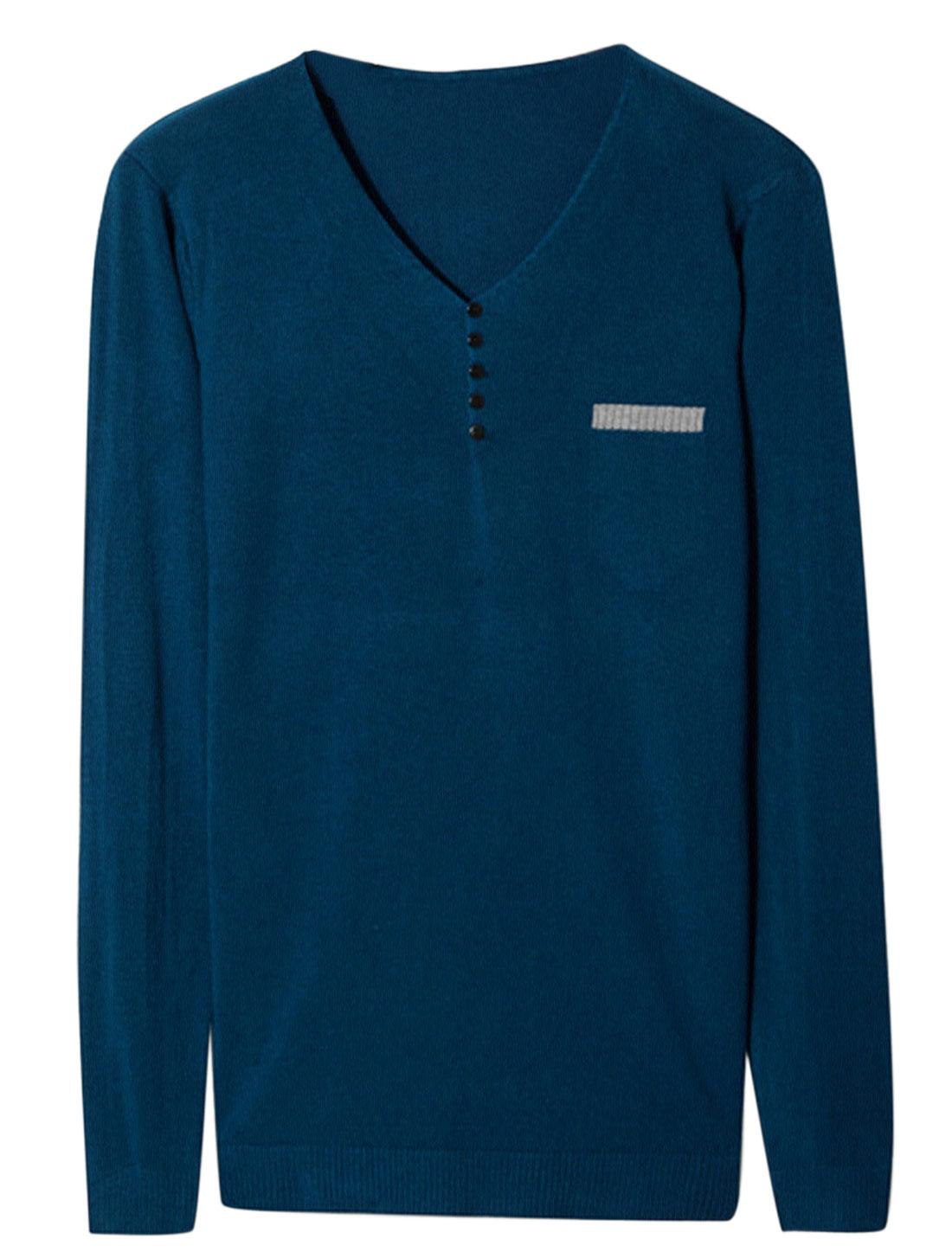 Men V Neck Long Sleeve Buttons Decor Casual Knit Shirt Navy Blue M