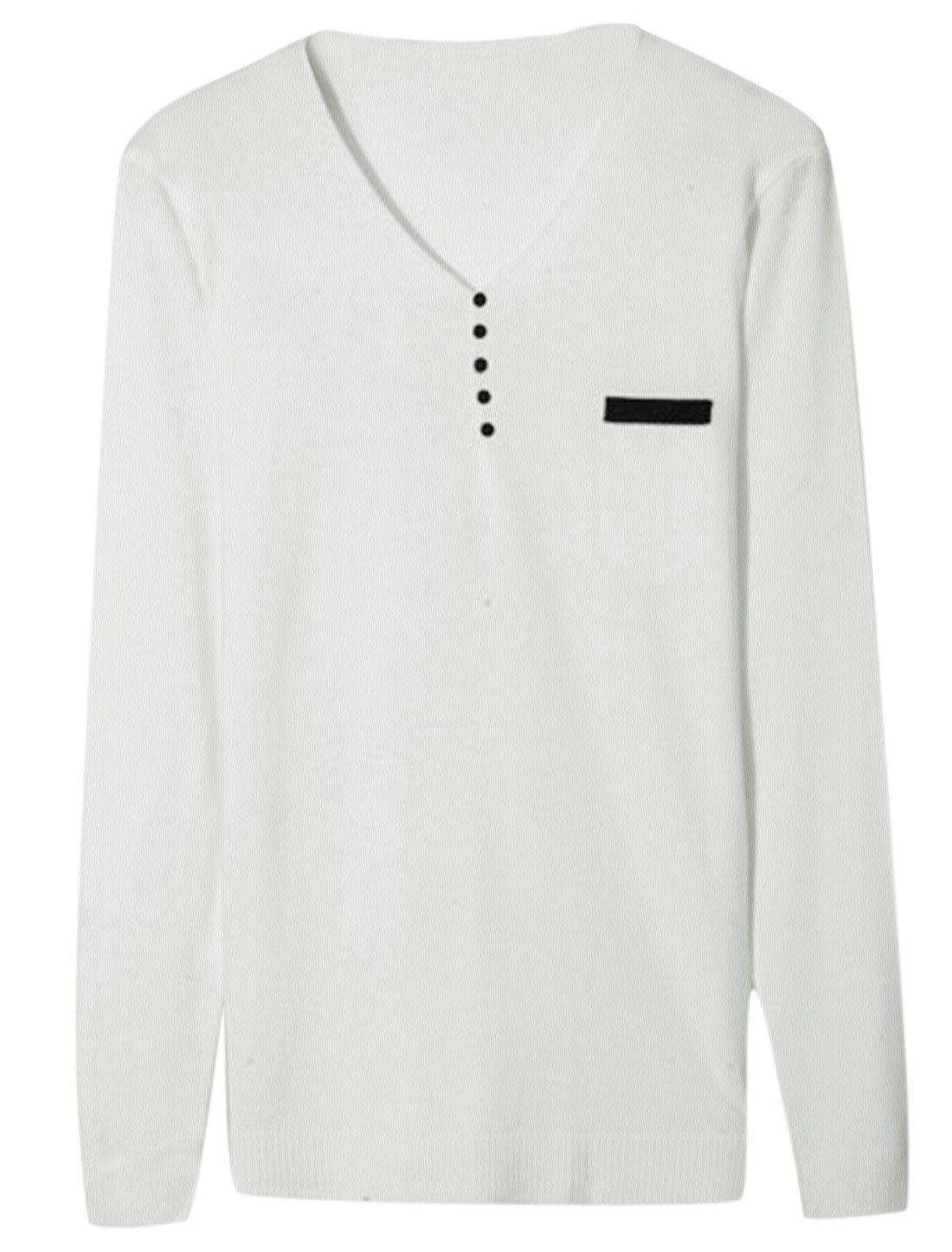 Men V Neck Long Sleeve Buttons Decor Slim Fit Knit Shirt White M