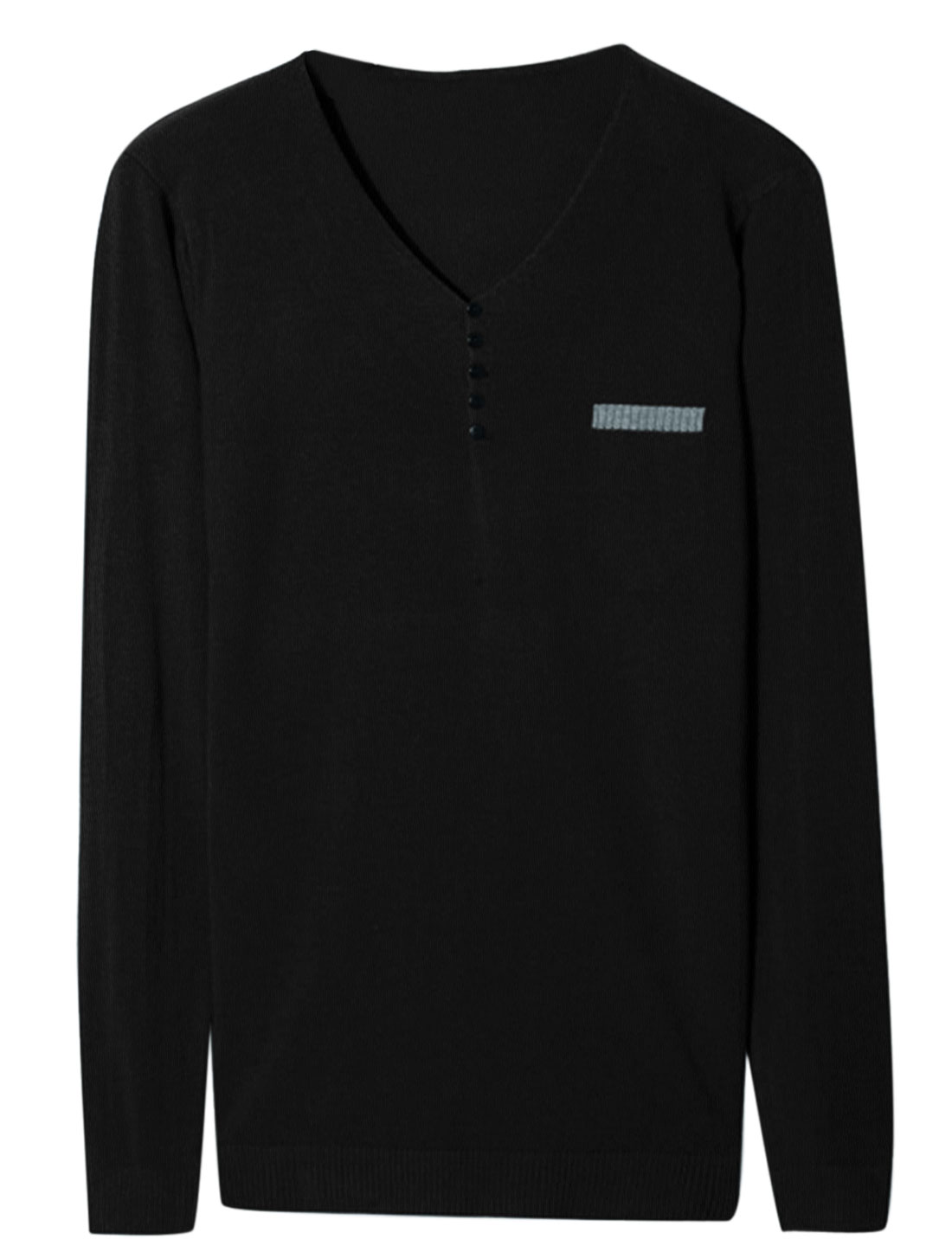 Men V Neck Long Sleeve Buttons Decor Stylish Knit Shirt Black M