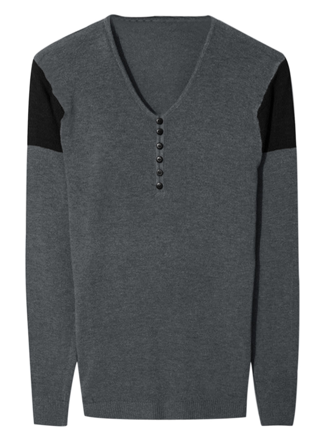 Men V Neck Long Sleeve Buttons Decor Contrast Color Knit Shirt Dark Gray S
