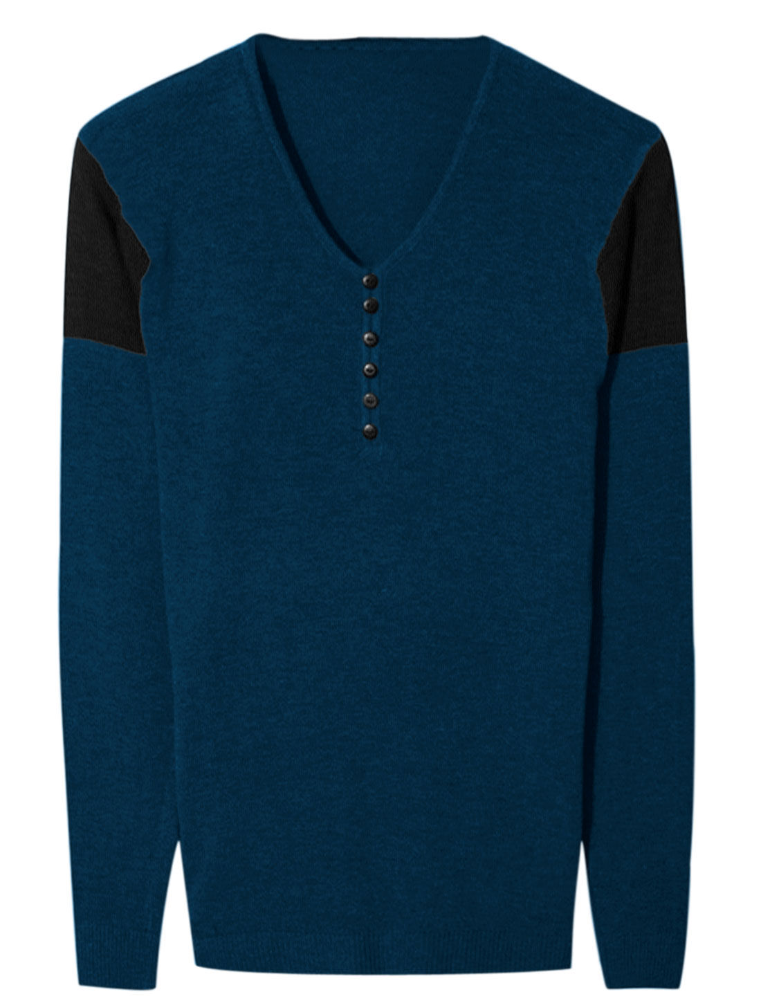 Men V Neck Buttons Decor Colorblock Pullover Knit Shirt Navy Blue S