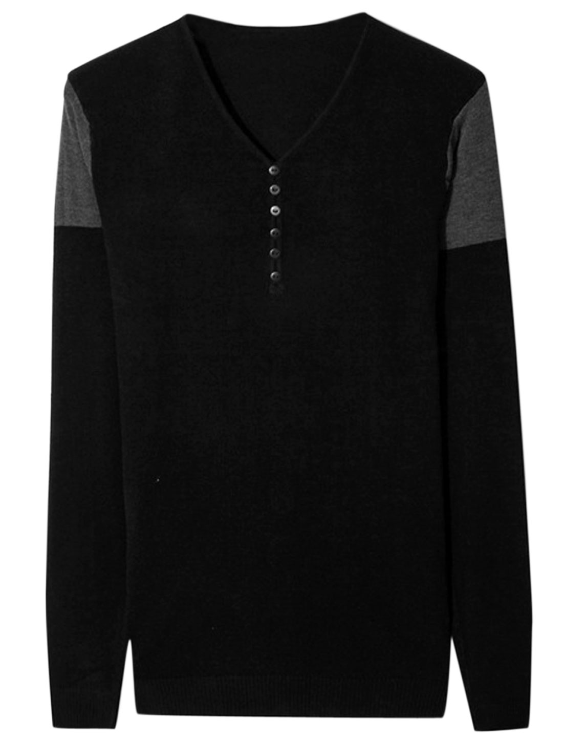 Men V Neck Long Sleeve Buttons Decor Colorblock Knit Shirt Black S