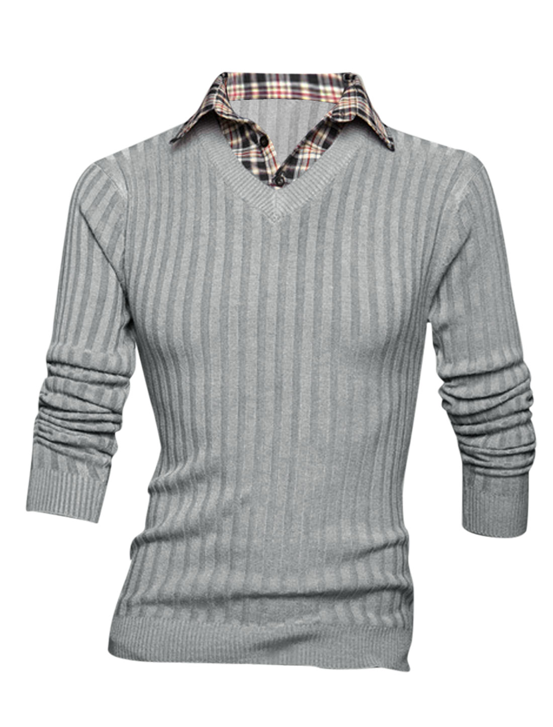 Men Long Sleeve Layered Designs Plaids Stitched Design Knit Shirt Light Gray M