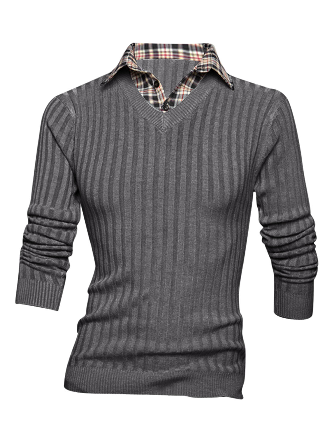Men Layered Designs Plaids Stitched Design Slim Fit Knit Shirt Dark Gray M