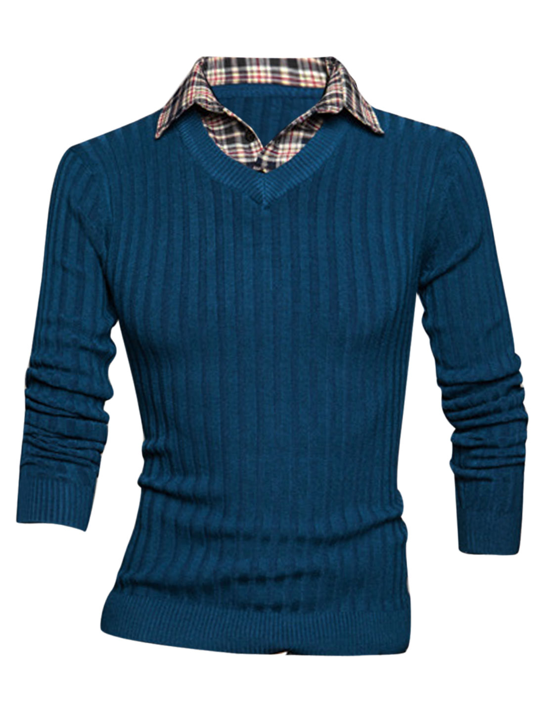 Men Layered Designs Stitched Design Pullover Knit Shirt Sea Blue M