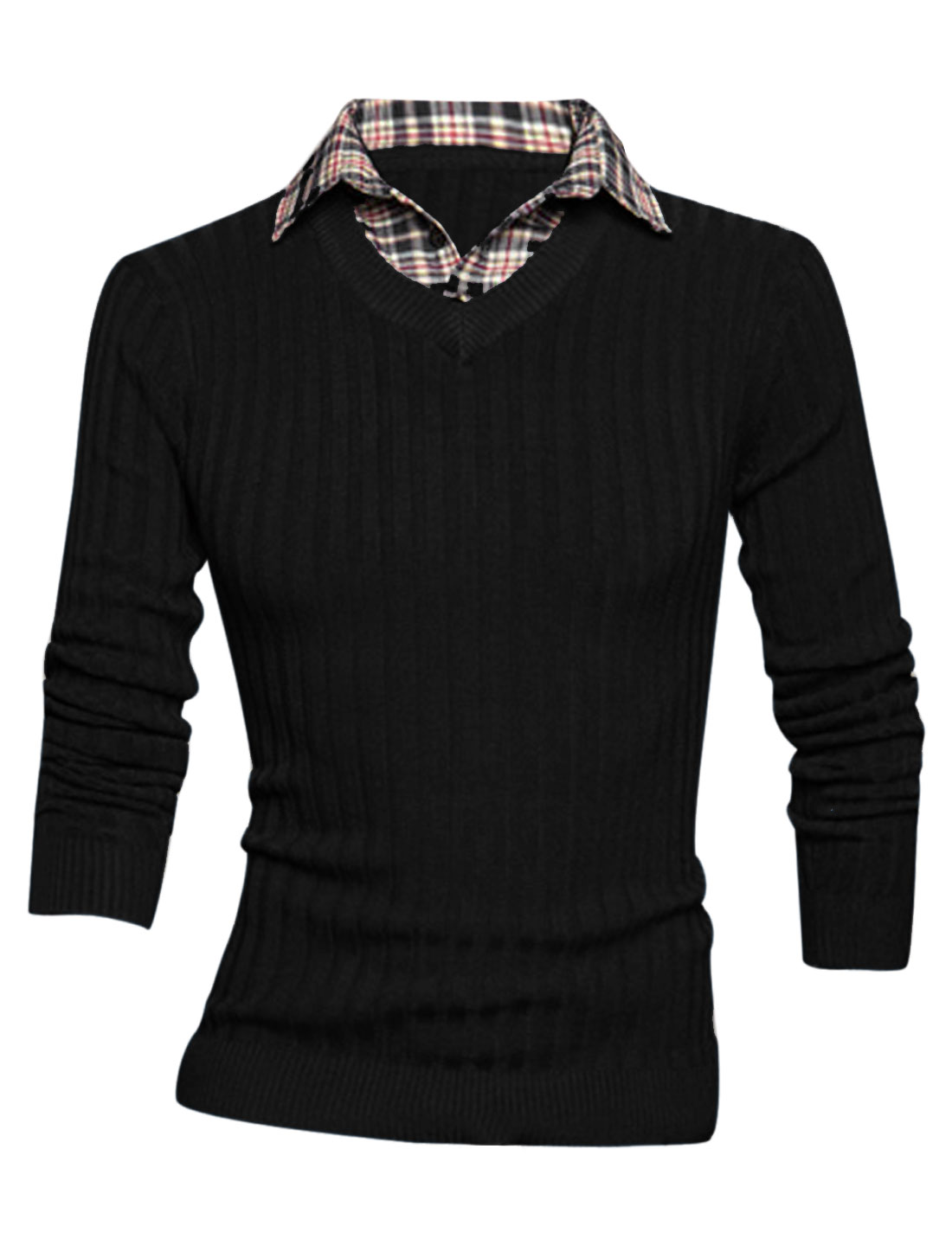 Men Long Sleeve Layered Designs Stitched Design Soft Knit Shirt Black M