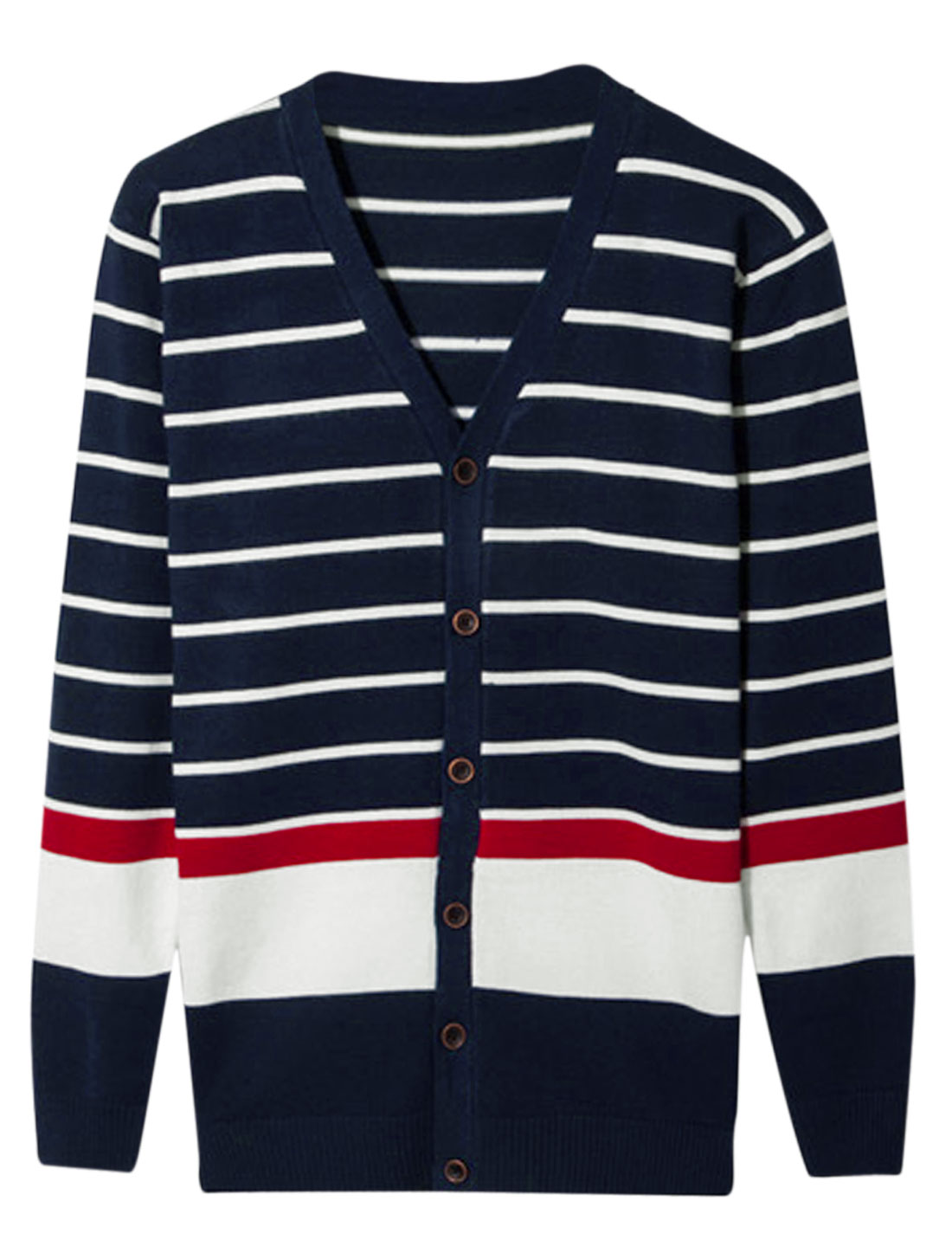 Men Long Sleeve Stripes Single Breasted Contrast Color Cardigan Navy Blue S