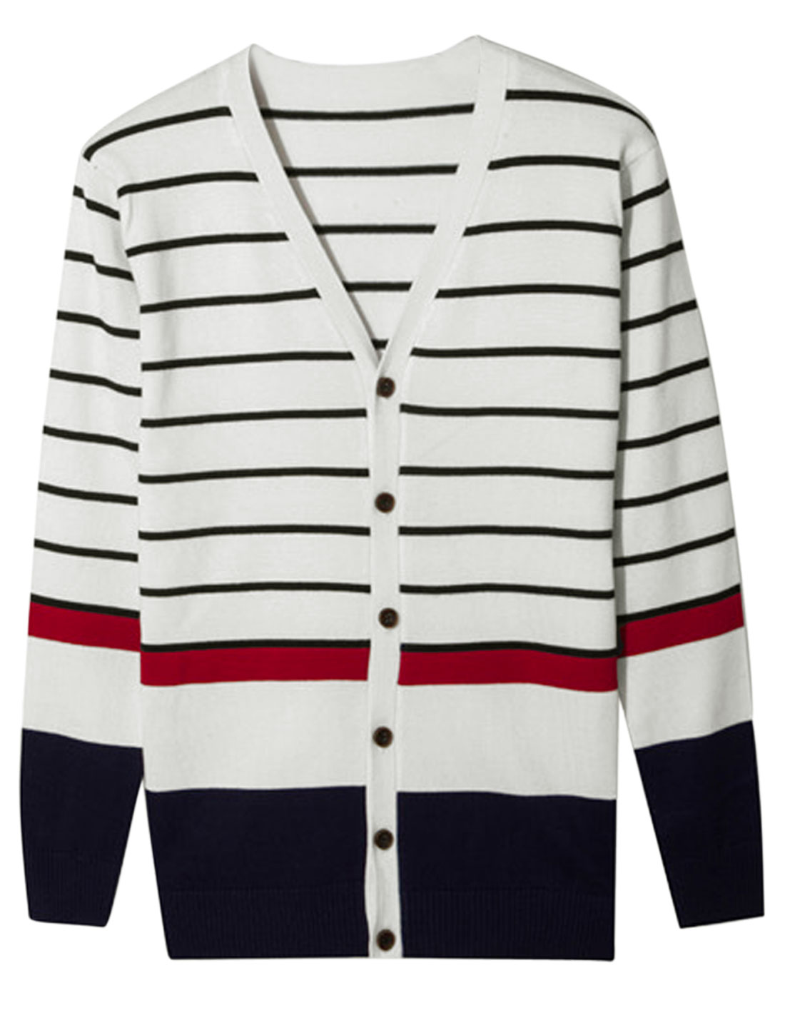 Men Long Sleeve Stripes Single Breasted Colorblock Cardigan White S