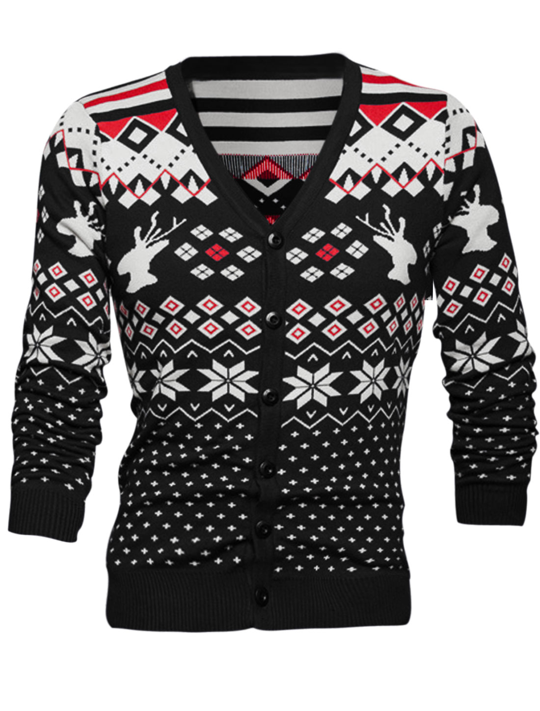 Men V Neck Button Front Argyle Prints Knit Cardigan Black S