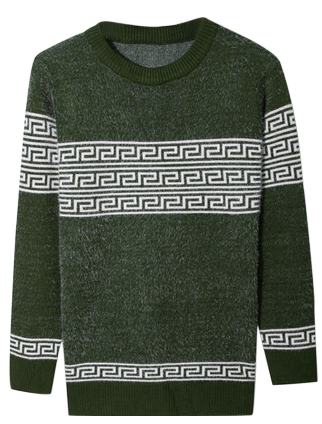 Men Crew Neck Long Sleeve Geometric Prints Casual Sweater Army Green S