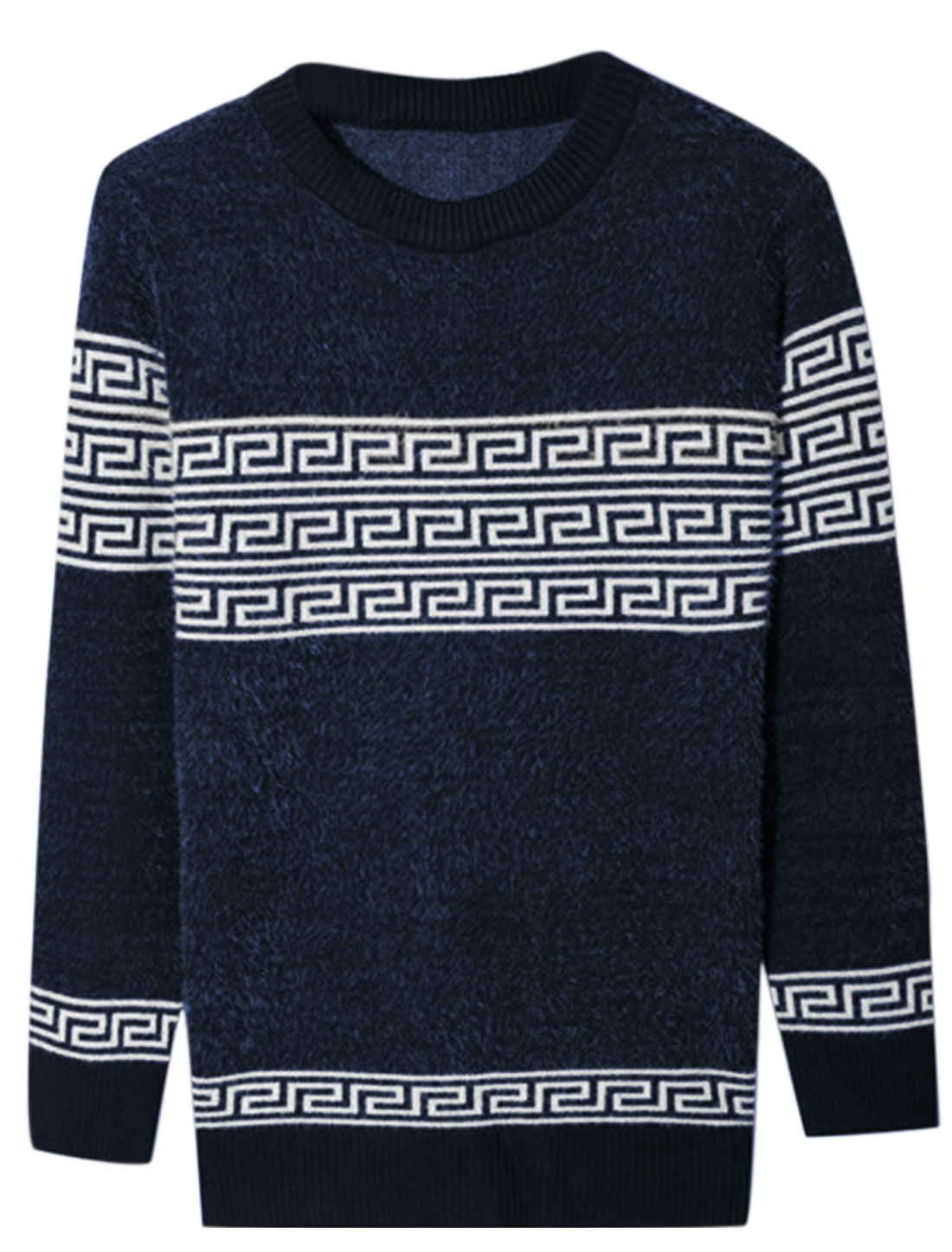Men Crew Neck Long Sleeve Geometric Prints Slim Fit Sweater Navy Blue S