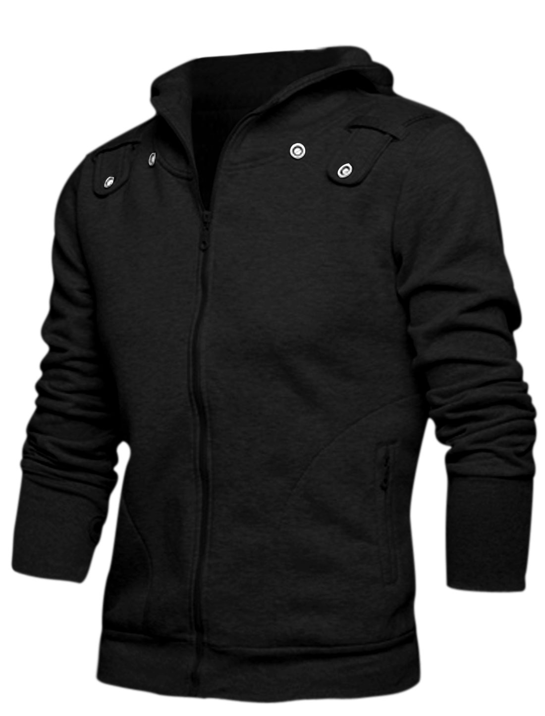 Men Long Sleeve Thumbhole Design Zip Up Front Hoodie w Removable Scarf Black M