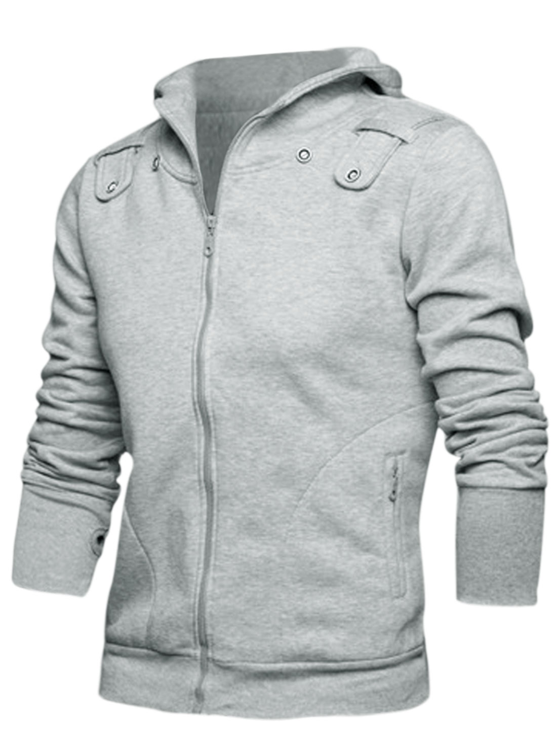 Men Zip Up Closure Ribbed Trim Hoodie w Removable Scarf Light Gray M