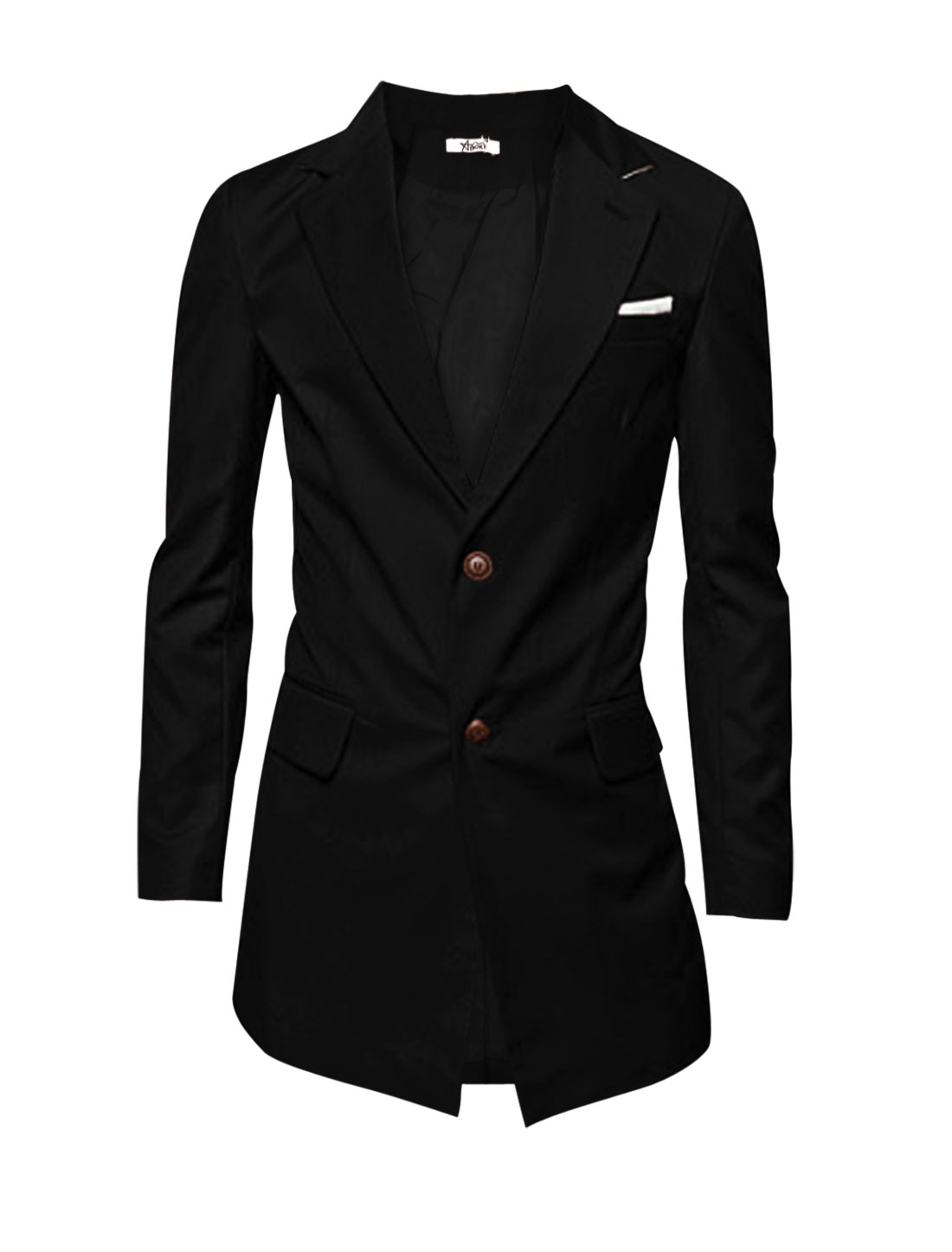 Men Notched Lapel Single Breasted Two Front Pockets Blazer Jacket Black L