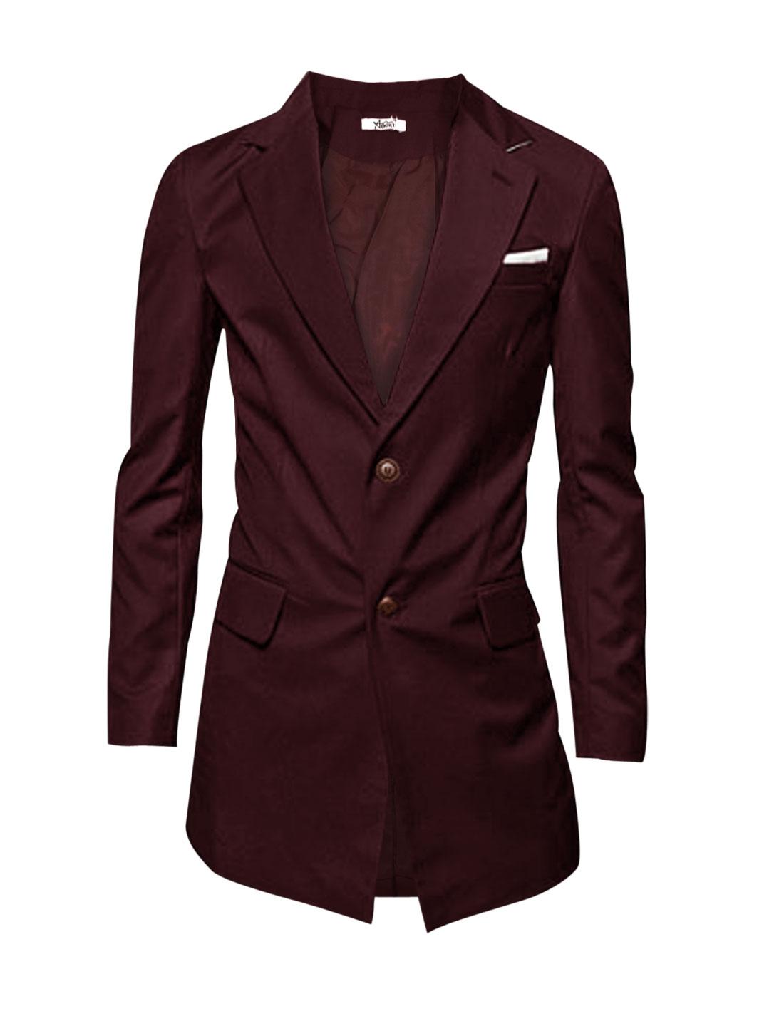 Men Long Sleeve Buttoned Cuffs Fake Pocket Cozy Fit Blazer Jacket Burgundy L