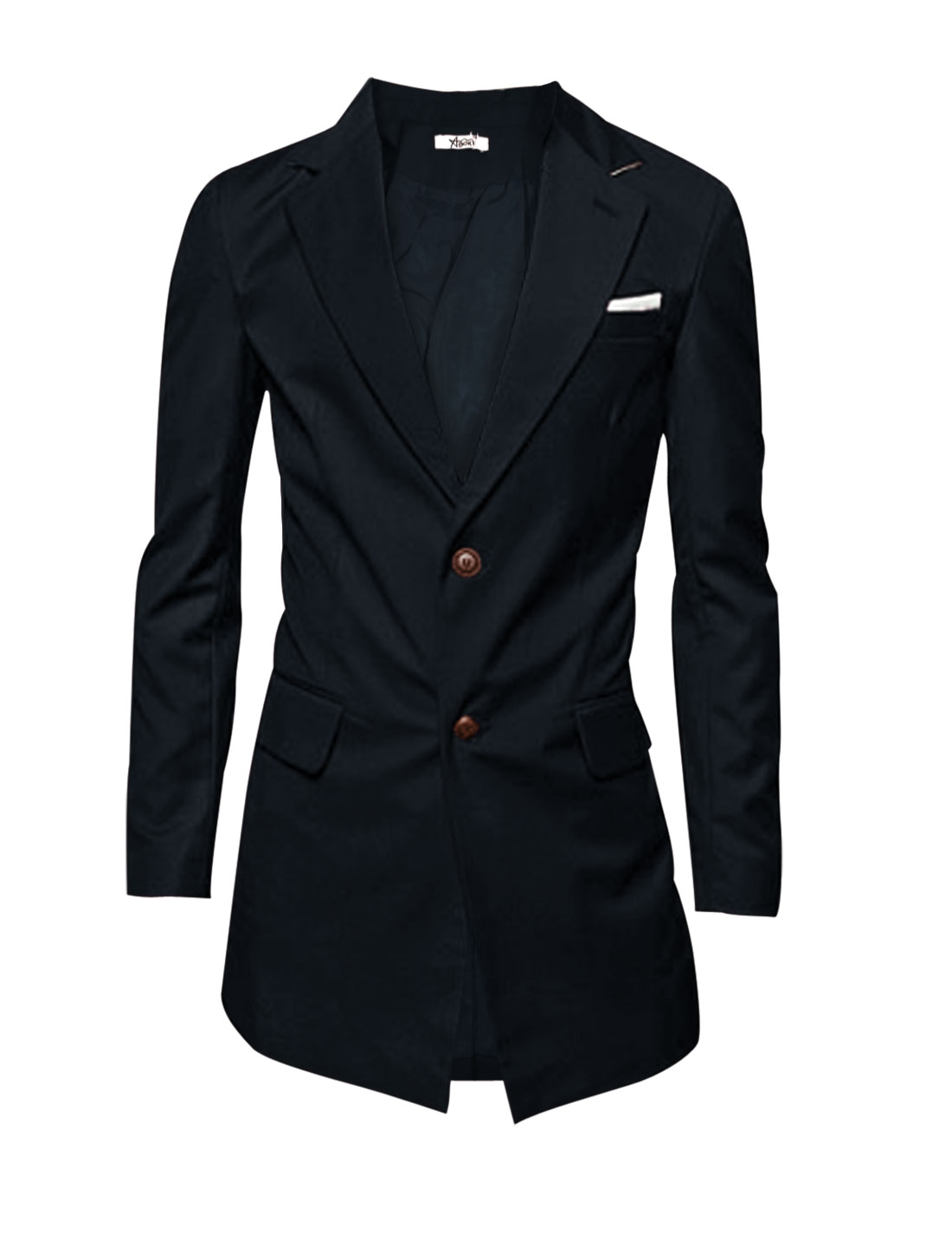 Fashion Notched Lapel Single Breasted Blazer Jacket for Men Dark Blue L