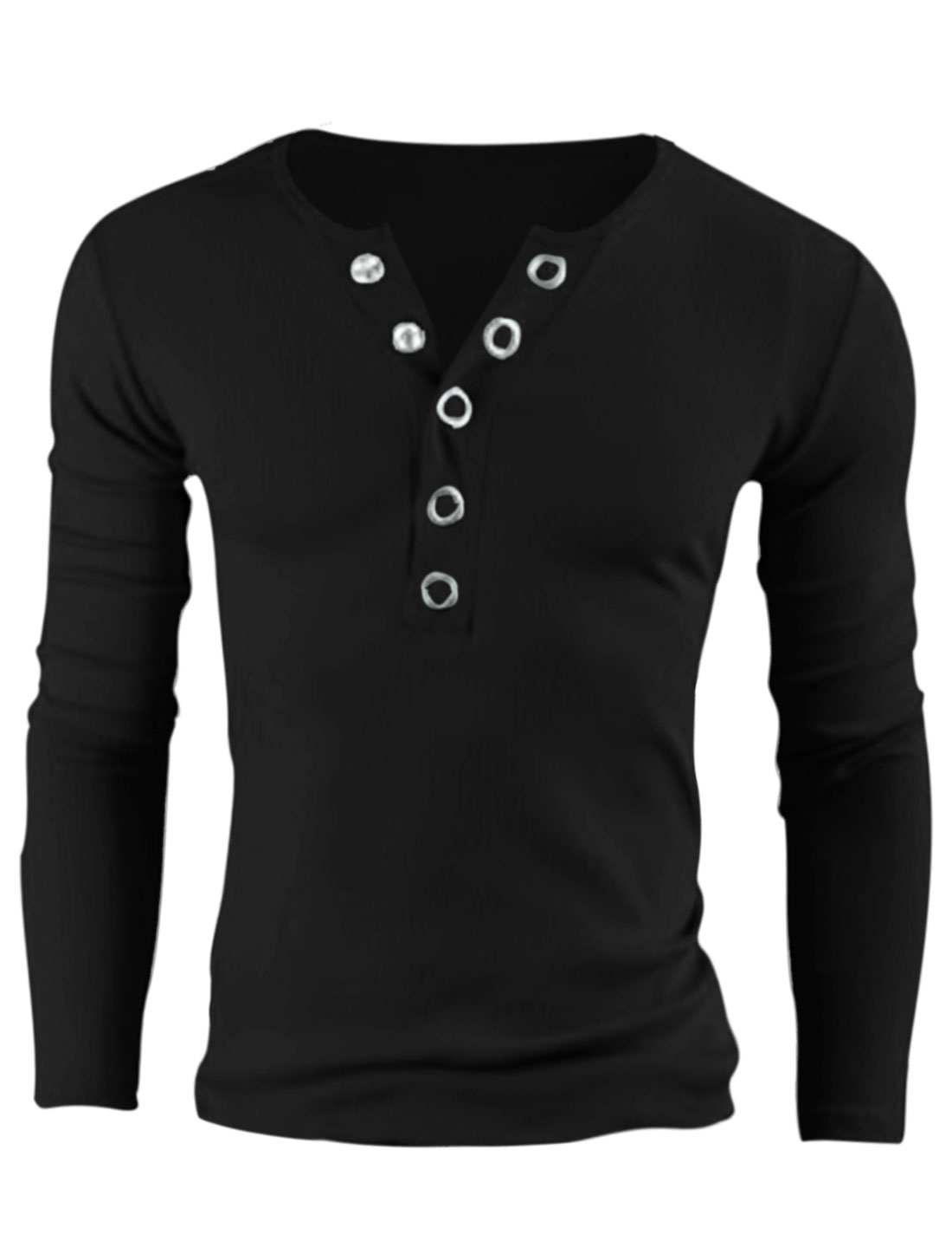 Men Round Neck Buttoned Closure Front Casual Henley Shirt Black M