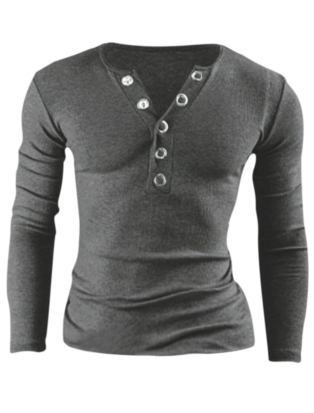 Men Long Sleeve Buttoned Closure Front Casual Henley Shirt Dark Gray M