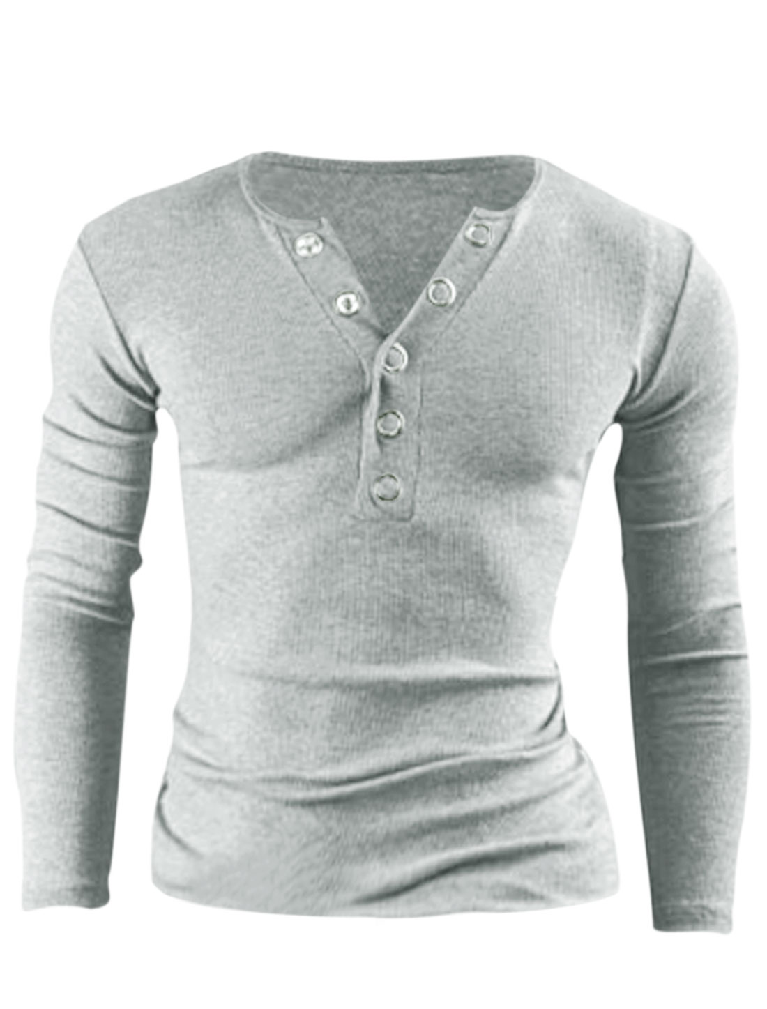 Men Stylish Cozy Fit Henley Shirt Light Gray M