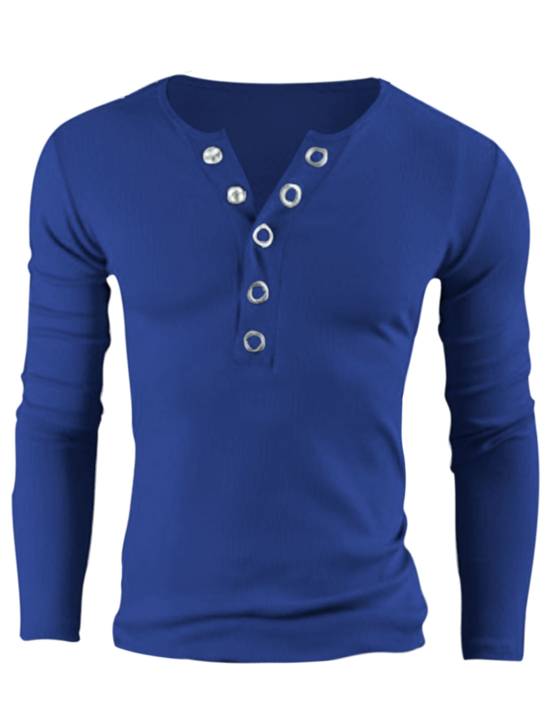 Men Metal Snap Button Wide Placket Long Sleeves Slim Fit Henley Shirt Royal Blue M