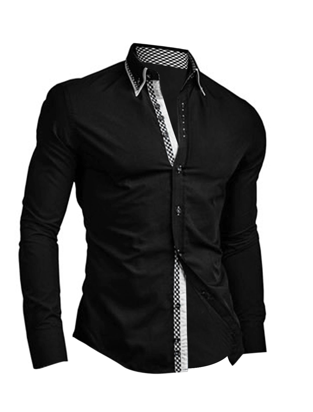 Men Tiered Point Collar Button Up Long Sleeve Casual Shirt Black M