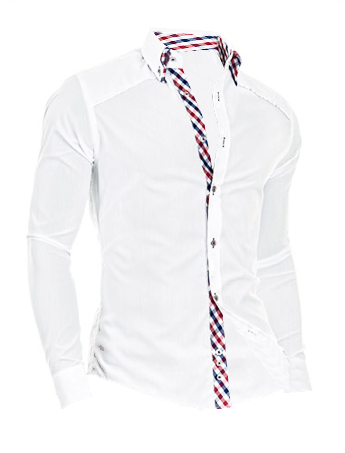 Men Tiered Point Collar Long Sleeve Button Closure NEW Shirt White M