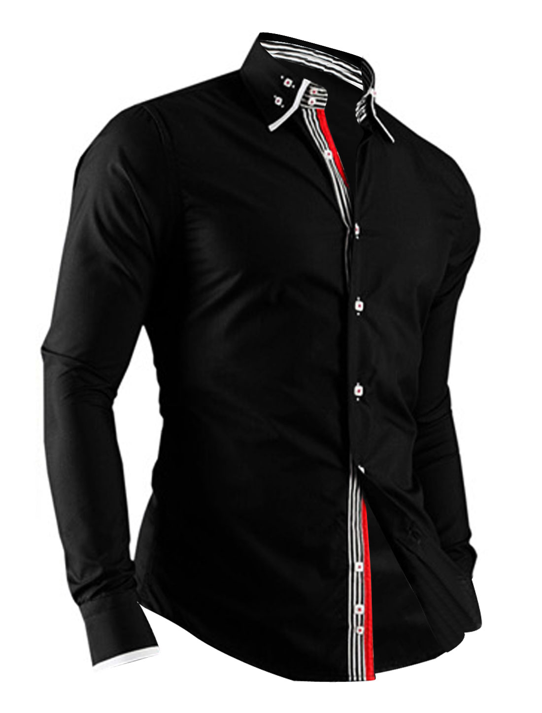 Men Long Sleeve Button Closure Buttons Cuffs Casual Shirt Black M