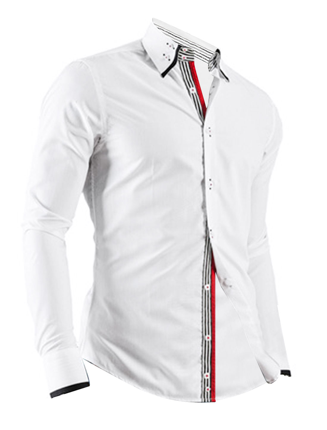 Men Long Sleeve Single Breasted Buttons Cuffs Casual Shirt White M