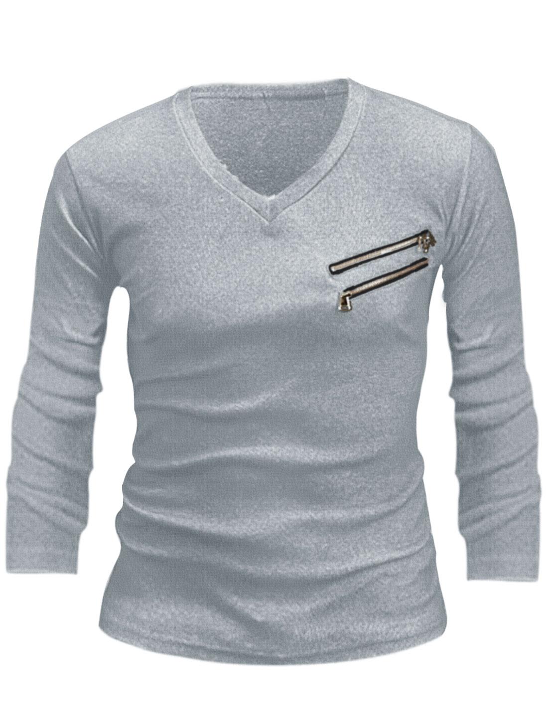 Men Pullover Long Sleeve Double Zippers Decor T-shirt Light Gray S
